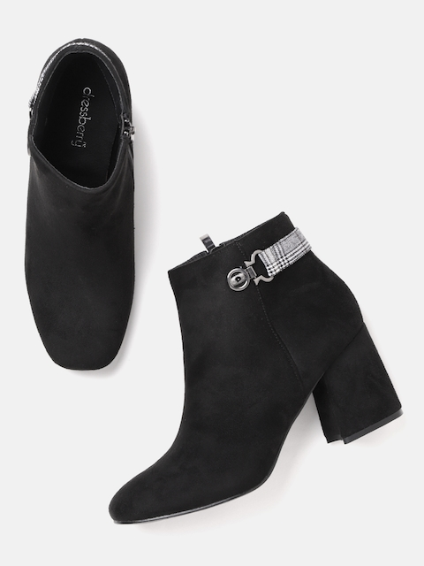DressBerry Women Black Solid Mid-Top Heeled Boots