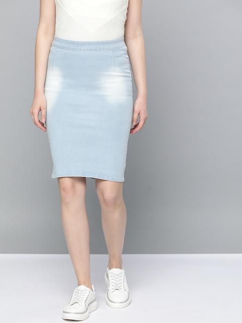 Trend Arrest Women Blue Washed Denim Pencil Skirt