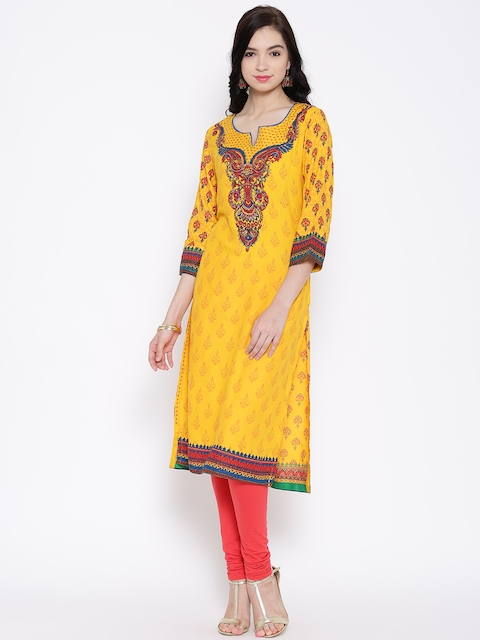 BIBA OUTLET Yellow Printed Kurta with Embroidered Detail