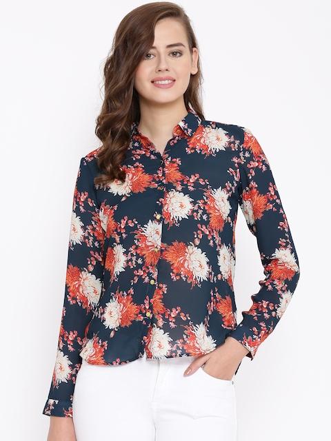 Van Heusen Woman Blue Floral Print Casual Shirt