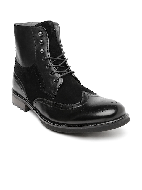 Steve Madden Men Black Leather Boots  available at myntra for Rs.9749