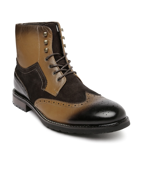Steve Madden Men Brown Two-Toned Leather Boots  available at myntra for Rs.7149
