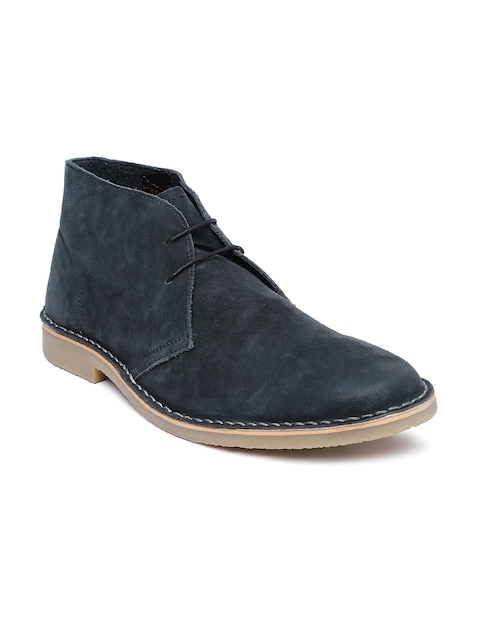 Steve Madden Men Navy Leather Boots  available at myntra for Rs.6499