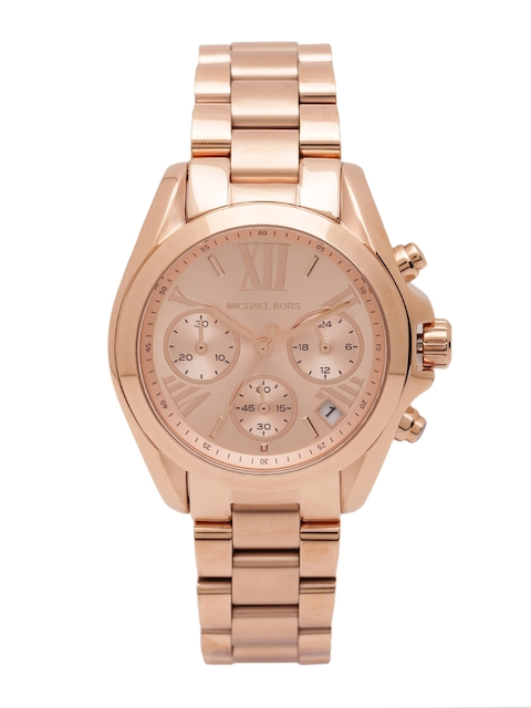 Michael Kors Women Chronograph Rose Gold-Toned Dial Watch MK5799I