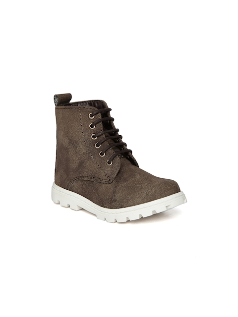 Arden by Knotty Derby Kids Dark Brown Textured Boots  available at myntra for Rs.795