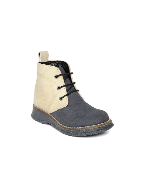 Arden by Knotty Derby Kids Navy & Beige Textured Boots  available at myntra for Rs.795