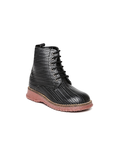 Arden by Knotty Derby Kids Black Textured Boots  available at myntra for Rs.795