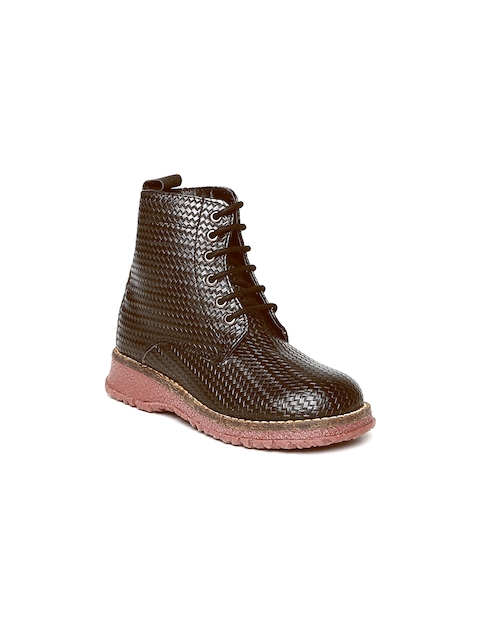 Arden by Knotty Derby Kids Brown Textured Boots  available at myntra for Rs.795