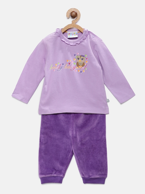 Eimoie Boys Purple Solid Sweatshirt with Joggers