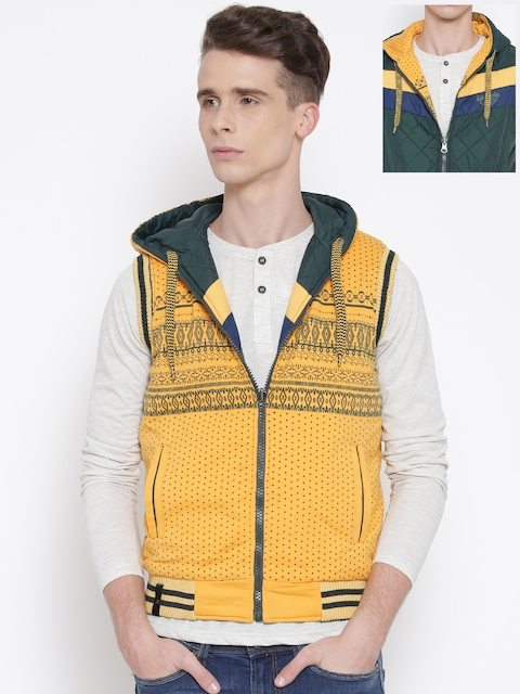 Fort Collins Yellow & Green Printed Hooded Reversible Jacket