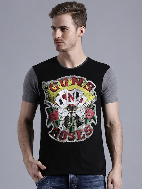 Kook N Keech Music Black Guns N' Roses Printed T-shirt  available at myntra for Rs.359