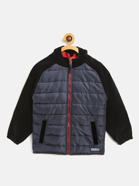 Cherry Crumble Kids Navy & Black Hooded Padded Jacket