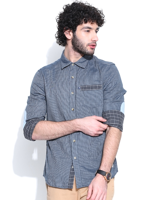 American Swan Blue Striped Smart Fit Casual Shirt