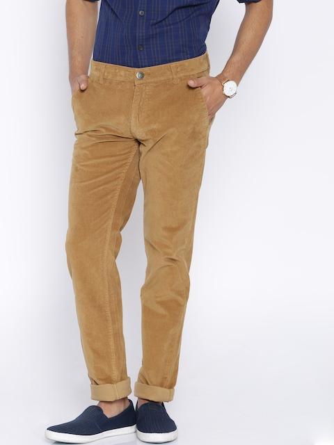American Swan Brown Slim Fit Corduroy Casual Trousers