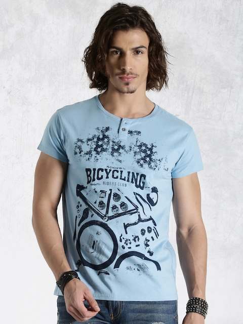Roadster Blue Printed Henley T-shirt
