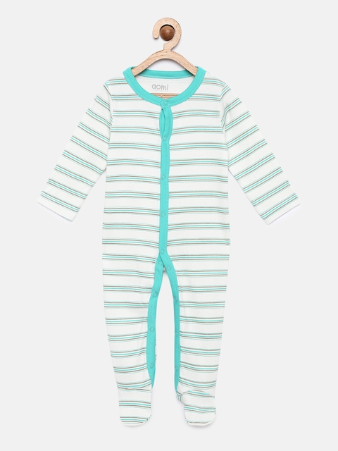 Aomi Infants White & Blue Striped Sleepsuit