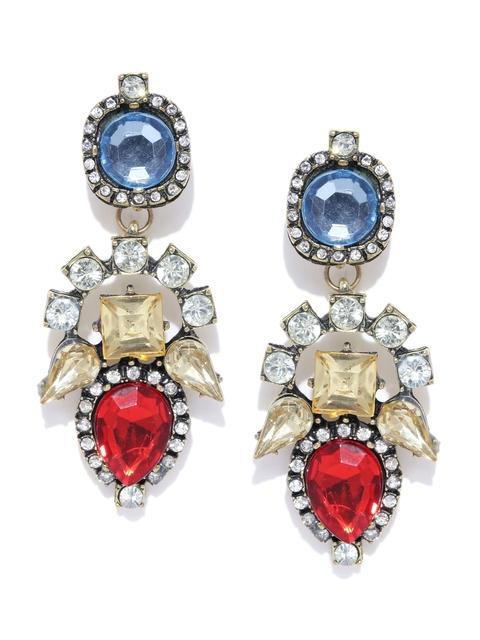 Foxy Sperks Multicoloured Stone-Studded Drop Earrings