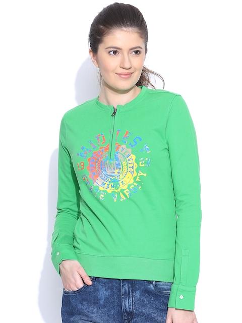 American Swan Green Printed Sweatshirt