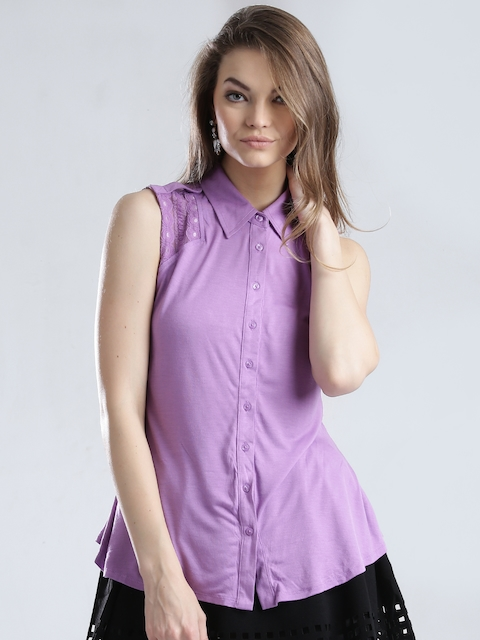 GUESS Purple Shirt with Lace Detail