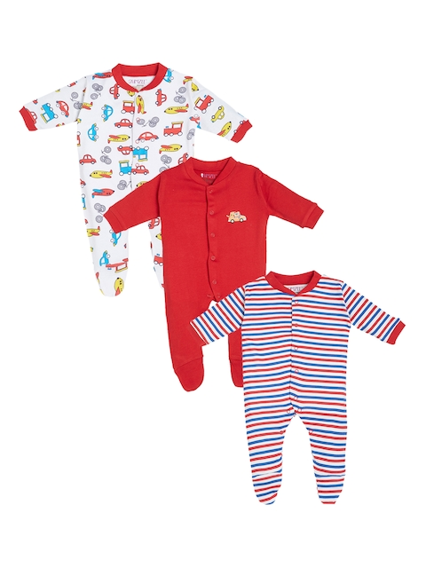 BUMZEE Kids Pack of 3 Red, Blue  & White Printed Sleepsuits
