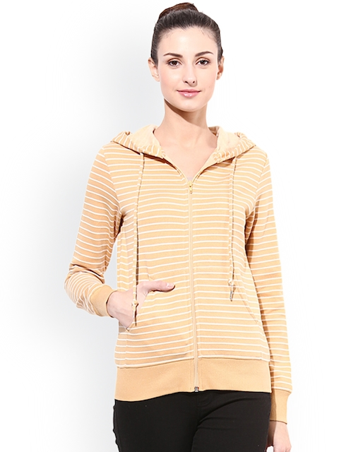 TshirtCompany Beige Striped Hooded Sweatshirt
