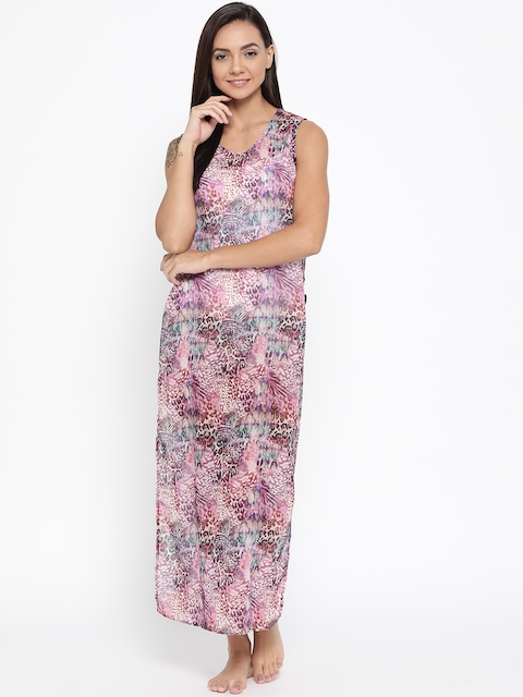 EROTISSCH Multicoloured Printed Semi-Sheer Cover-Up Dress