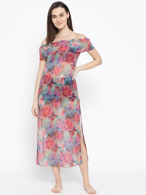 EROTISSCH Women Pink & Blue Sheer Printed Cover-up Dress