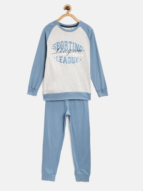 COOL CLUB Boys Grey Melange & Blue Printed T-shirt with Pyjamas