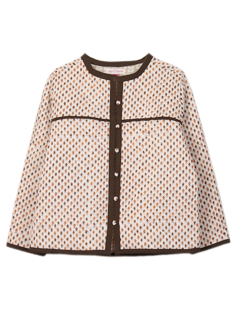 My Little Lambs Girls Brown Printed Jacket