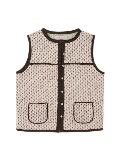My Little Lambs Girls Brown Printed Sleeveless Jacket