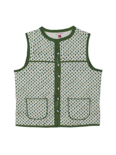 My Little Lambs Girls Green Printed Sleeveless Jacket