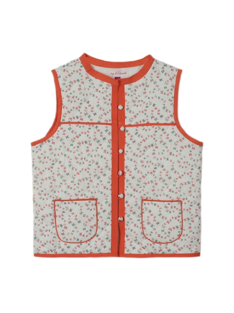 My Little Lambs Girls Off-White Printed Quilted Sleeveless Jacket