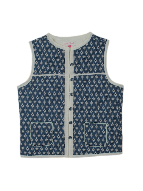 My Little Lambs Girls Navy Printed Quilted Sleeveless Jacket