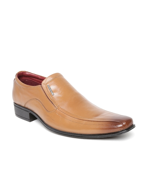 Provogue Men Tan Brown Leather Semiformal Shoes