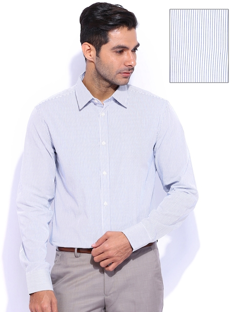 United Colors of Benetton White Striped Casual Shirt