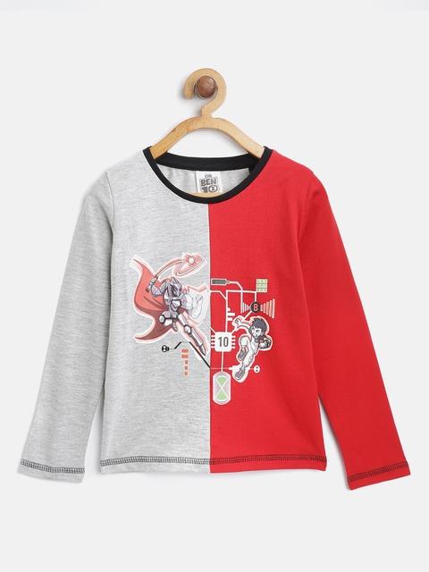 Ben 10 Boys Grey Melange & Red Printed & Colourblocked Round Neck T-shirt