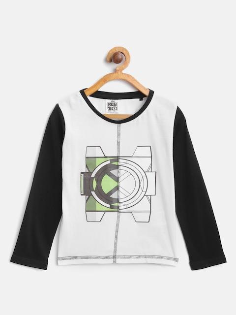 Ben 10 Boys White & Black Printed Round Neck T-shirt