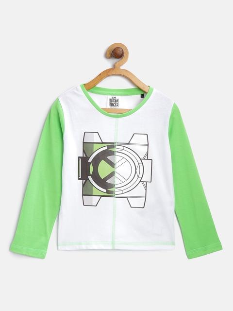 Ben 10 Boys White & Green Printed Round Neck T-shirt