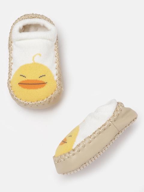 Hoppipola Kids White & Yellow Self Design Booties