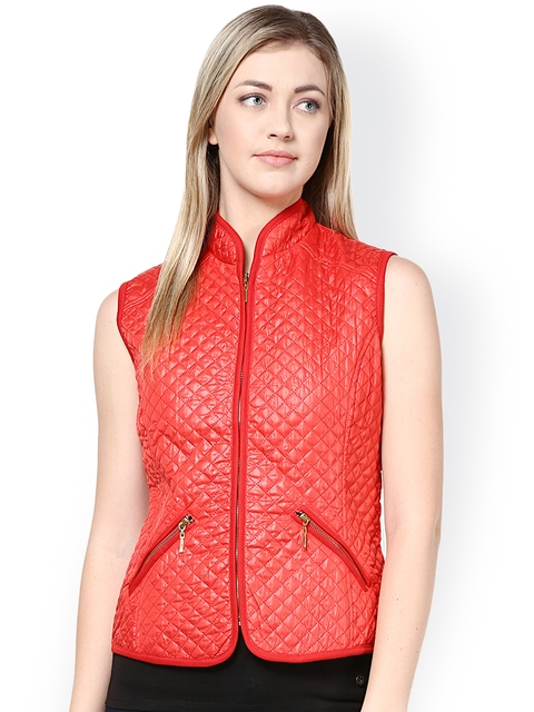 Harpa Red Quilted Sleeveless Jacket