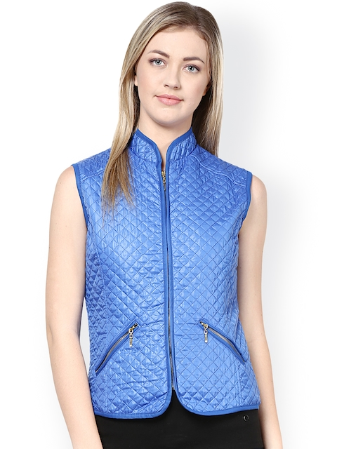 Harpa Blue Quilted Sleeveless Jacket