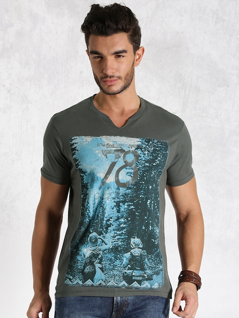 Roadster Charcoal Grey Printed T-shirt