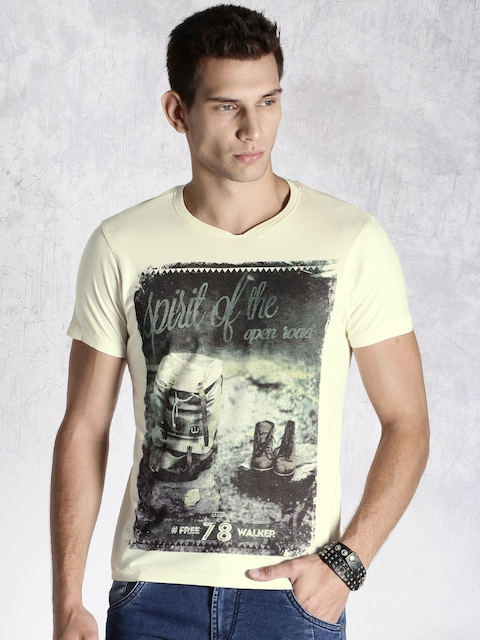 Roadster Cream-Coloured Printed T-shirt