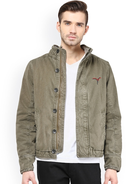 Monteil & Munero Olive Green Jacket  available at myntra for Rs.1999