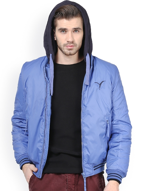 Monteil & Munero Blue Hooded Jacket  available at myntra for Rs.1049
