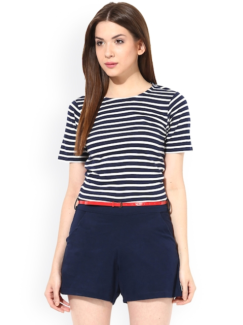 Miss Chase Navy Striped Playsuit