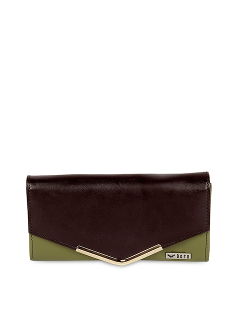 Bern Women Brown & Olive Green Wallet