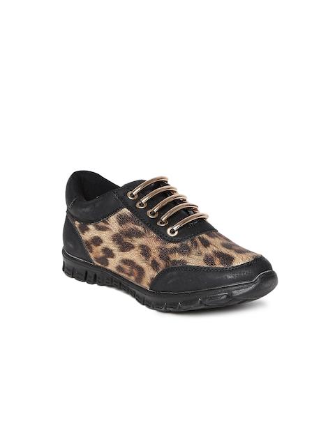 Carlton London Women Brown Animal Print Casual Shoes