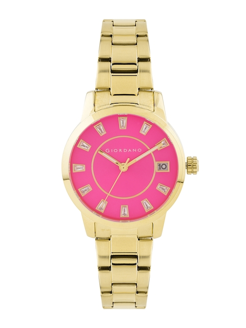 GIORDANO Women Pink Stone-Studded Dial Watch 2700-44