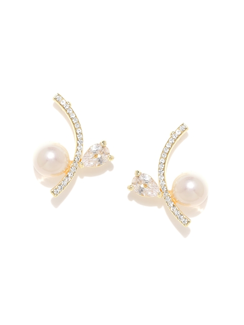 20Dresses Gold-Toned & Peach-Coloured Stone Stud Earrings